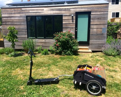 EcoReco scooter and Burley trailer
