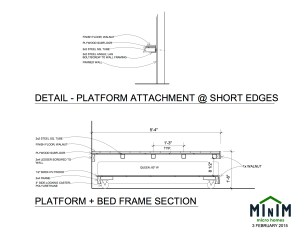Platform + Bed Frame Section View - Minim Micro Homes