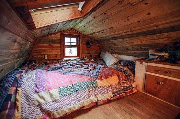 An example of a loft with a gambrel roof - April Anson's tiny home