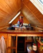 An example of a loft with a gable roof - Dee Williams' tiny home