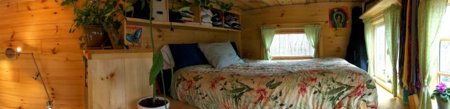 An example of a loft with a flat roof - Jess and Dan's tiny house