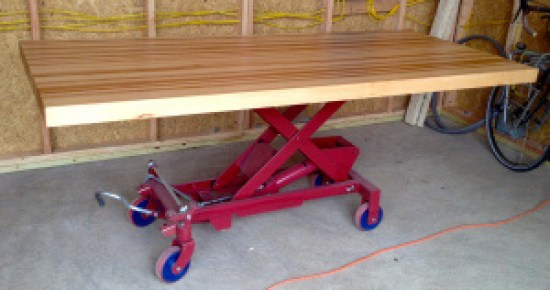 DIY Hydraulic Lift Table - Shown table designed by Brian Levy and on display in the Studio Shed at the Micro Showcase. (hickory butcher block on 1650lb hydraulic lift)