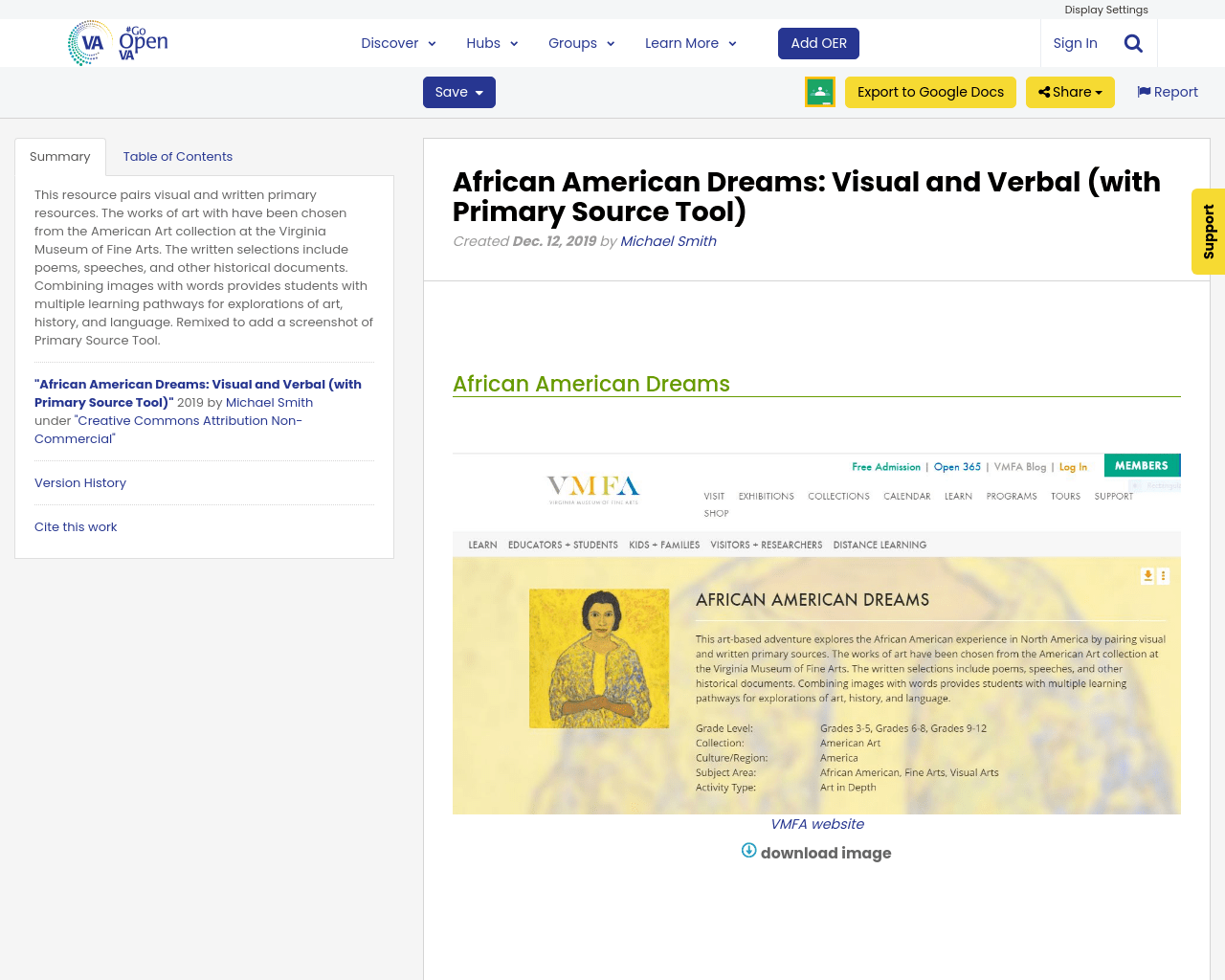 African American Dreams Visual And Verbal With Primary