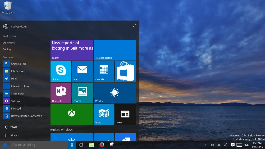 Windows 10 Construir 10074 (Small)