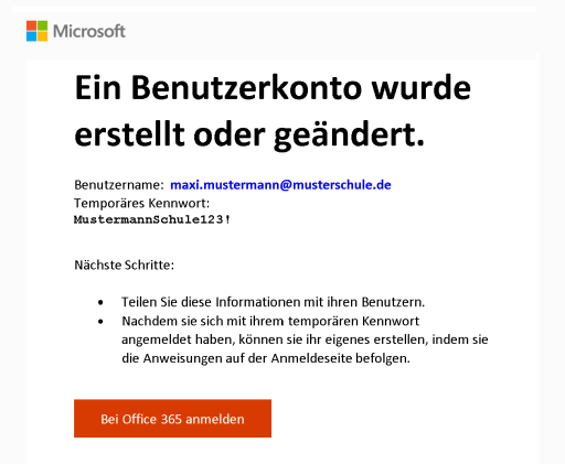 E-Mail zu neuem Benutzerkonto