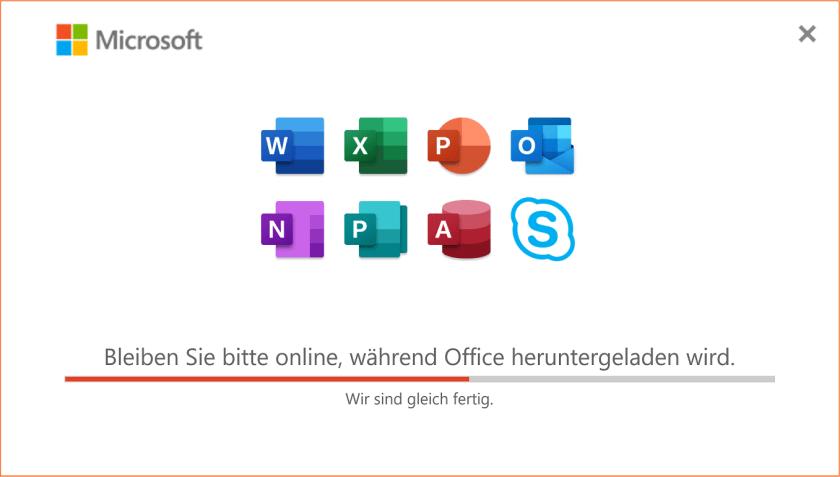 Office wird heruntergeladen und installiert