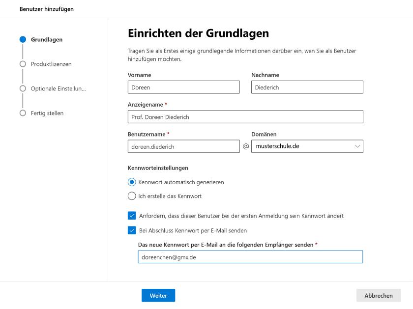 Benutzer hinzufügen in Microsoft 365