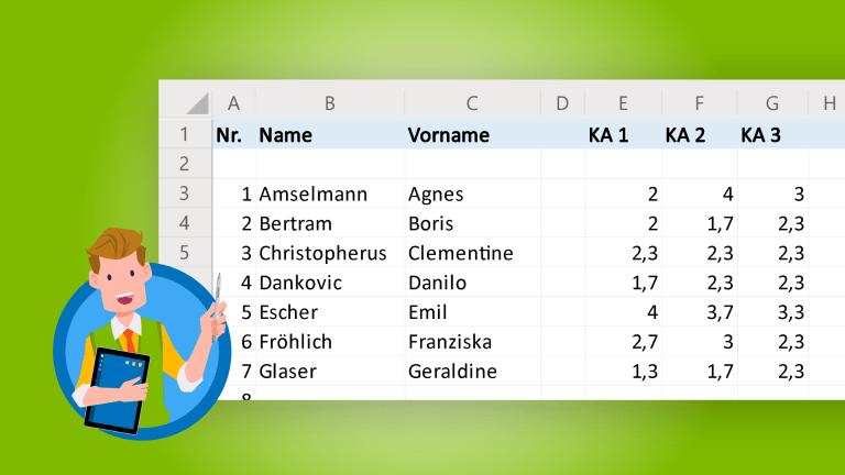 Noten und Punkte mit Excel ausrechnen