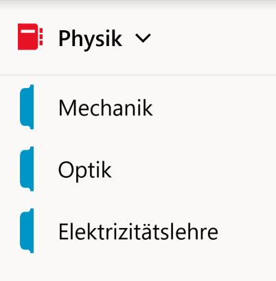 Beispiel-Notizbuch fürs Fach Physik