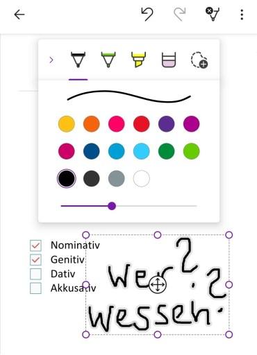 Bearbeitung einer Seite in der mobilen App
