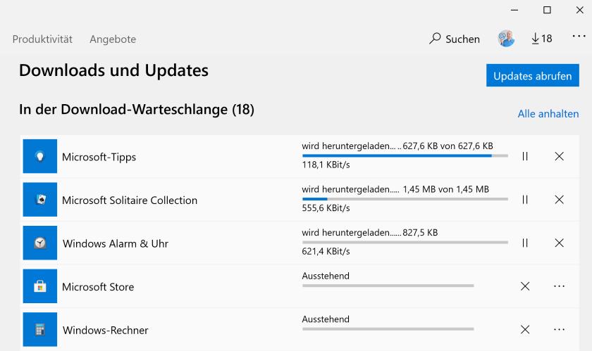 Updates im Microsoft Store