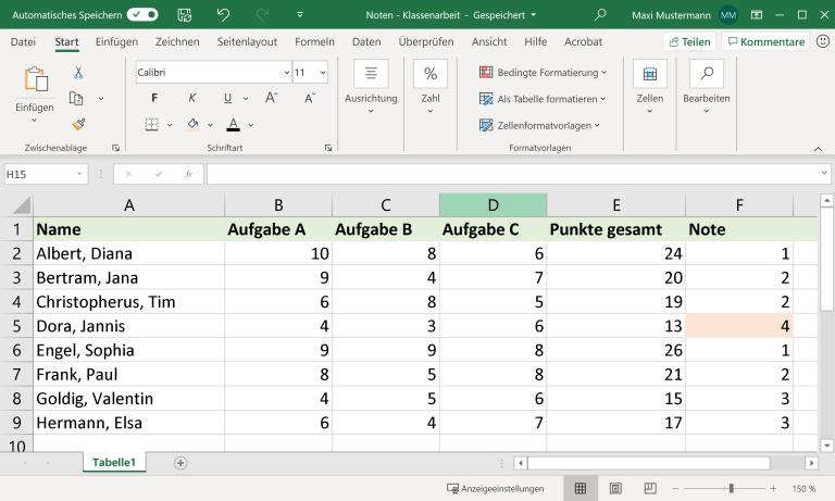 Punktetabelle in Microsoft Excel