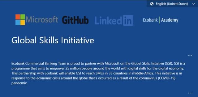 Ecobank Group Microsoft skills SME