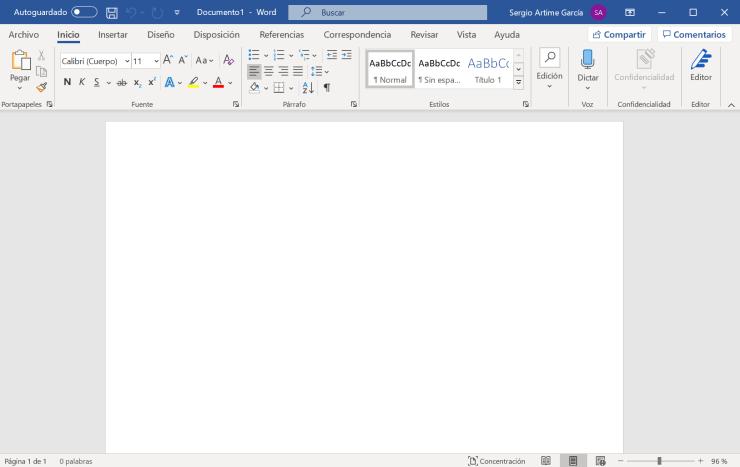 Interfaz de Word en la versión de Office 2021