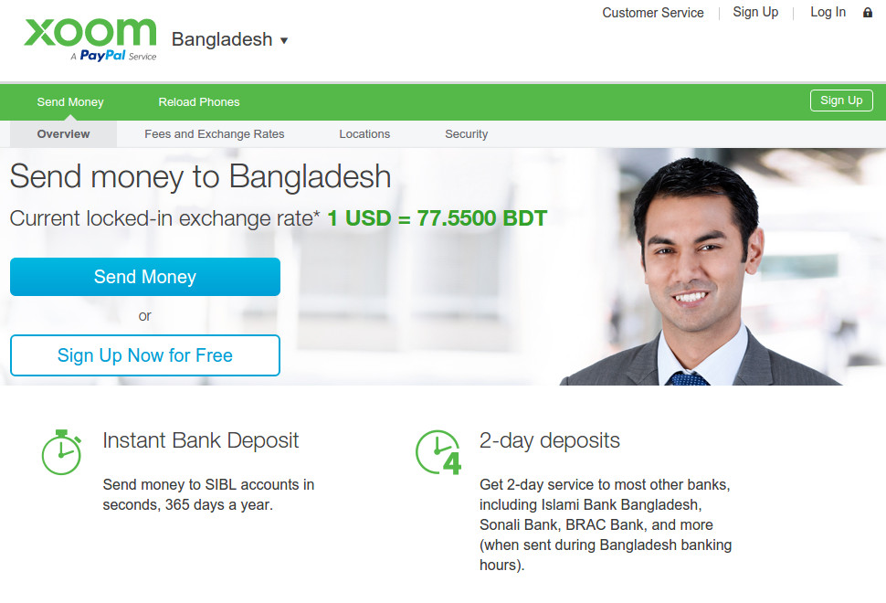 xoom - bangladesh instant money transfer