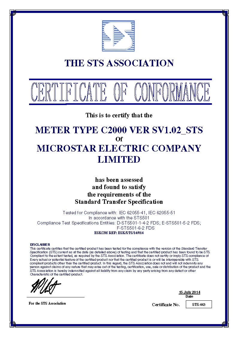 Certificates microstar electric company limited c2000 prepayment meter sts certificate xflitez Gallery