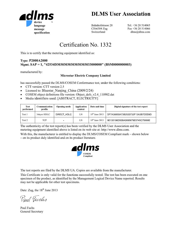 P2000 Smart Meter DLMS Certificate