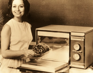 Girl Using Microwave Oven Old Picture