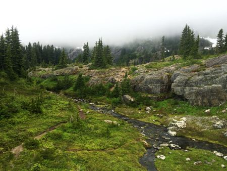 A stream flowing out of Rampart Lakes