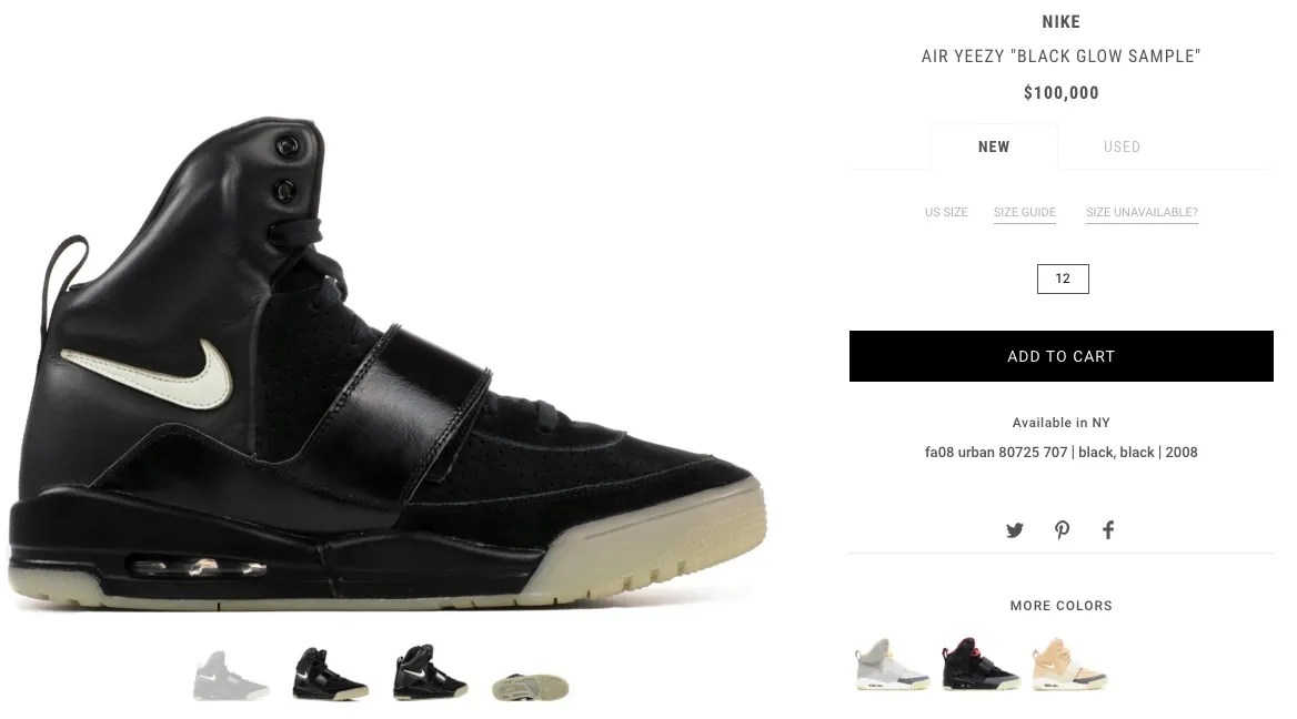 First Sample Ever Made Of The Rare Nike Air Yeezy, Is Up For Grabs On The Flight Club Website For $100.000 (£76.051)
