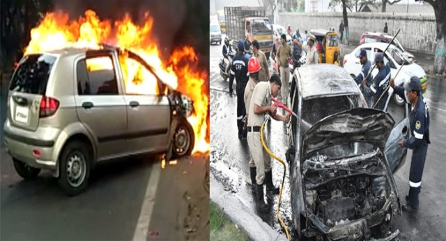 Telugu news car ablaze at Hyderabad Telangana Assembly cross roads driver escaped from accident fire police put off