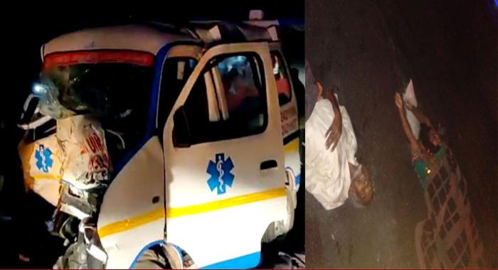 Telugu news Outer ring road killing three members… Ambulance, car crash