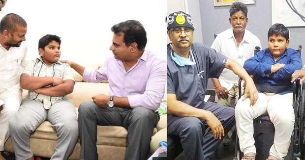 Telugu News trs working president ktr to help polio victim boy from ramagundam .