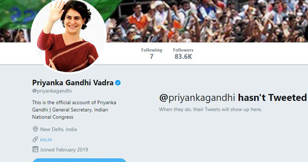 Telugu News Priyanka Gandhi Vadra Is Now On Twitter 82k Followers Within Hours.