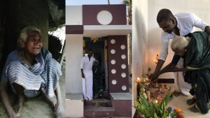 Raghava Lawrence builds house for Gaja cyclone victim Photos of house warming ceremony.