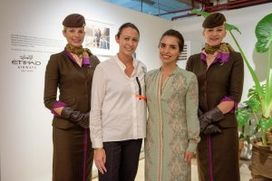 BFC – Caroline Rush, Chief Executive of the British Fashion Council, joins Amina Taher, Head of Corporate Communications at Etihad Airways, and the airline's cabin crew at the launch in London