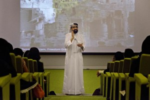 Sultan Sooud Al Qassemi lectures on the politics of Arab art at Zayed University