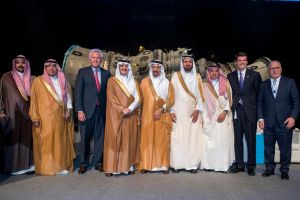 His Royal Highness Prince Saud bin Nayef bin Abdulaziz Al Saud, Governor of Eastern Province and GE's Chairman & CEO Jeffrey Immelt with Saudi ministers and dignitaries at the Minds + Machines Saudi Arabia 2016 event held at the GE Manufacturing & Technology Center (GEMTEC), 2nd Industrial City, Dammam.