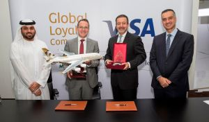 Yasser Al Yousuf, Managing Director, Etihad Guest; Darren Peisley, Chief Executive Officer, Hala Group; Kamran Siddiqi, Group Executive – Central & Eastern Europe, Middle East & Africa region, Visa; and Ihab Ayoub, Visa General Manager – Middle East and North Africa region.