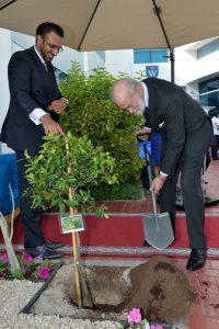 HRH Prince Michael of Kent plants a tree