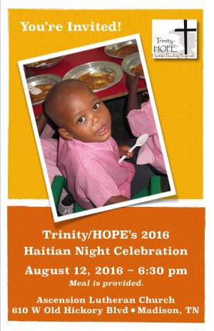 2016 Trinity/HOPE Haitain night to celebrate volunteers