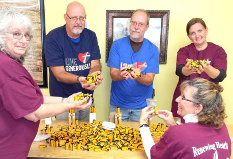 Battery giveaway by Peace Lutheran