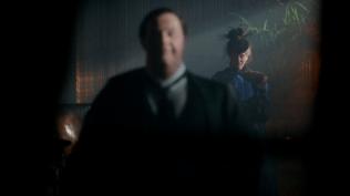 "Sherlock: ""The Abominable Bride"" Mark Gatiss (Mycroft Holmes) and Amanda Abbington (Mary Watson)"
