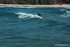 Surfer catching a ride in Frankfort Michigan