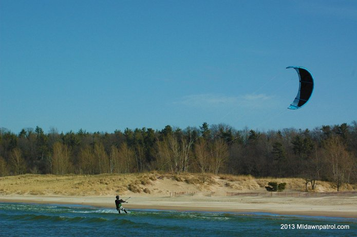 Winter Kiteboarding at Charles Mears State Park