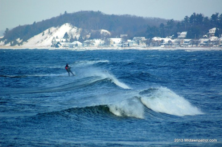 Kiteboarding Ludington in the Cold