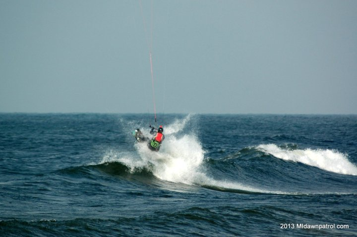 Kiteboarding at Stearns Park in Ludington on Lake Michigan
