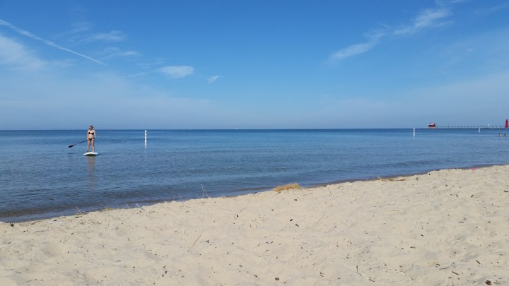 Calm morning for paddle boarding at Grand Haven State Park