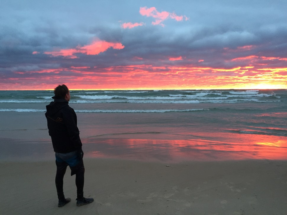 Sunset after the session of the year for me. Clean huge waves in Muskegon this fall with 30 knot + wind