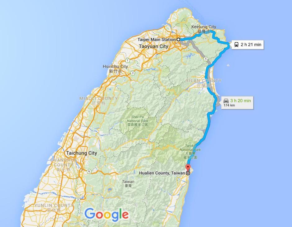 Taipei to Hualien Google Map_1