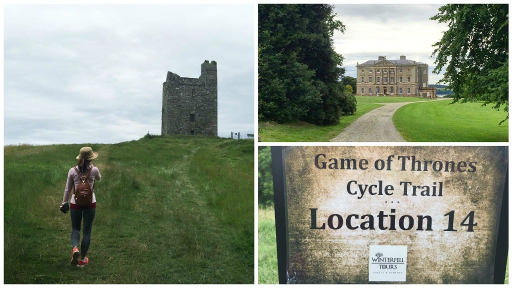 Left: Audley's Castle; Top-right: Castle Ward; Bottom-right: Game of Thrones