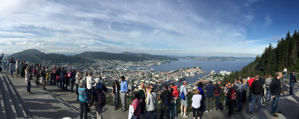 Panoramic of Bergen and a bunch of strangers
