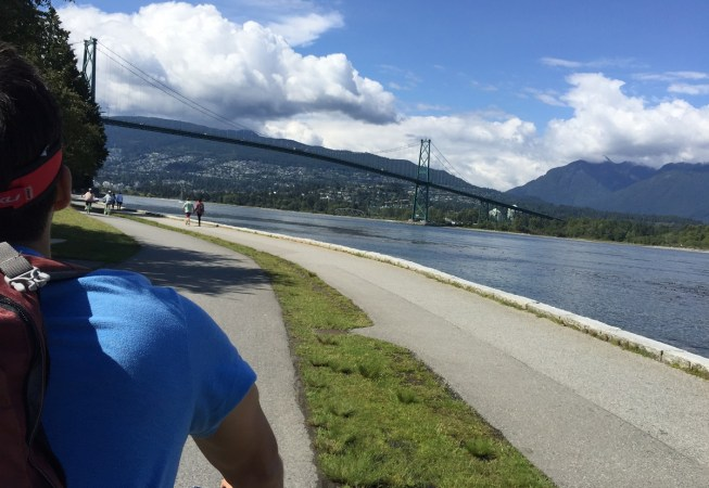 Action shot riding on the seawall