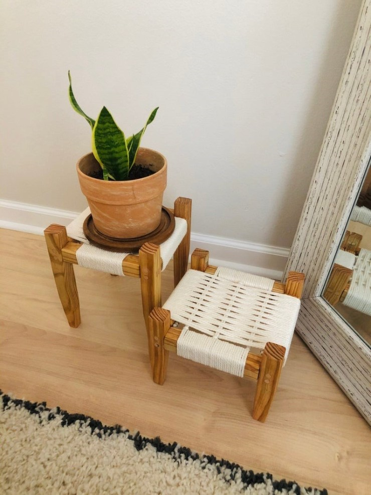 mid-century modern woven plant stand