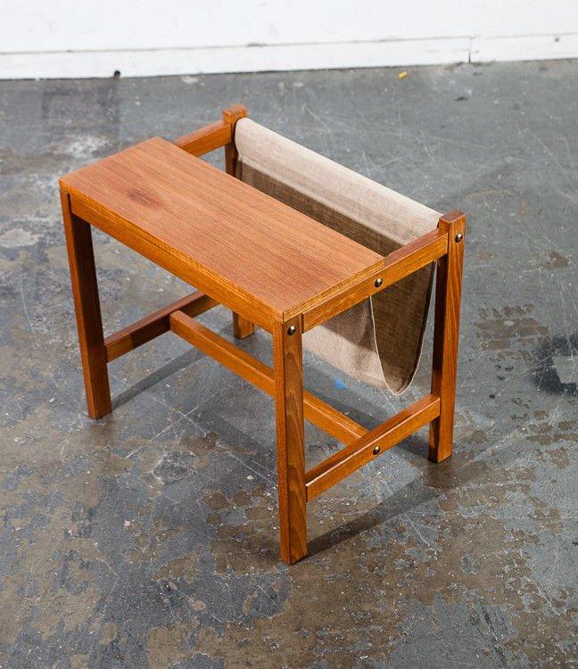 mid century danish modern magazine rack side table teak domi horsens denmark mcm small wood sweden norway scandanavian canvas brown white
