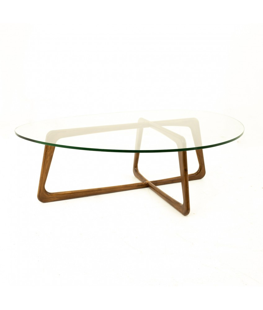 adrian pearsall mid century walnut glass top coffee table